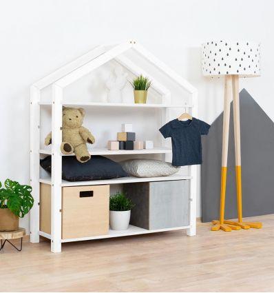 benlemi - montessori wooden house shelf polly (white)