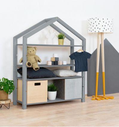 benlemi - montessori wooden house shelf polly (grey)