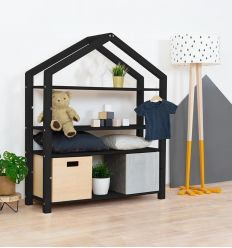 benlemi - montessori wooden house shelf polly (black)