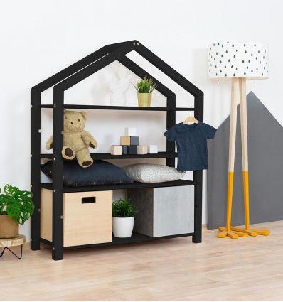 benlemi - montessori wooden house shelf polly (black)