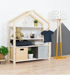 benlemi - libreria montessori a casetta polly (naturale/bianco)