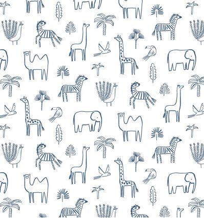 harlequin - carta da parati funky jungle blu navy