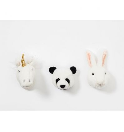 wild & soft - lovely box set of 3 mini head (unicorn/panda/bunny)