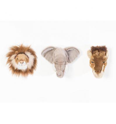 wild & soft - safari box set di 3 decorazioni da parete (leone/elefante/giraffa)