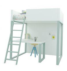lagrama - letto a soppalco homage con scrivania (bianco/artico)