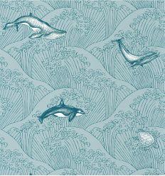 CASELIO carta da parati under the sea (grigio-petrolio)