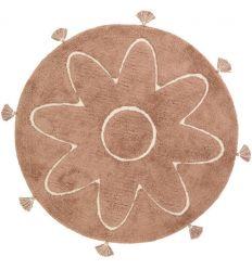 NATTIOT tappeto in cotone lavabile con decorazione fiore e nappe (rosa terracotta)