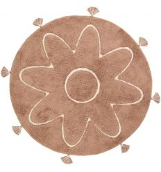 NATTIOT washable round rug with flower and pompoms