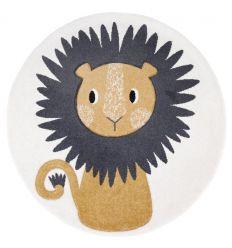 NATTIOT tappeto tondo con decorazione leone