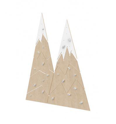 Wooden climbing wall mountain range