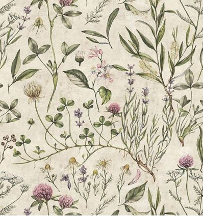 DEKORNIK carta da parati vintage botanic illustration