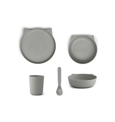 LIEWOOD tableware set cat dove blue