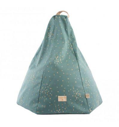 nobodinoz - pouf marrakech (gold confetti/magic green)