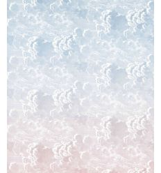 FORNASETTI carta da parati nuvole al tramonto blush