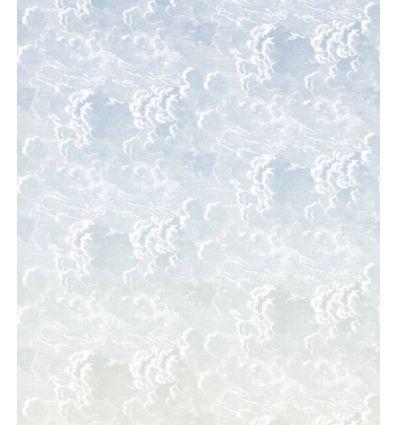 FORNASETTI carta da parati nuvole al tramonto blue