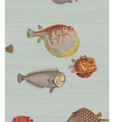 FORNASETTI carta da parati acquario print room blue