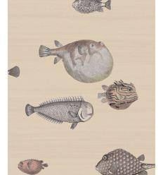 FORNASETTI carta da parati acquario taupe