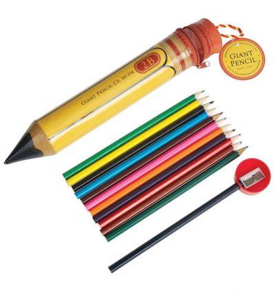 astuccio matitone vintage con pastelli